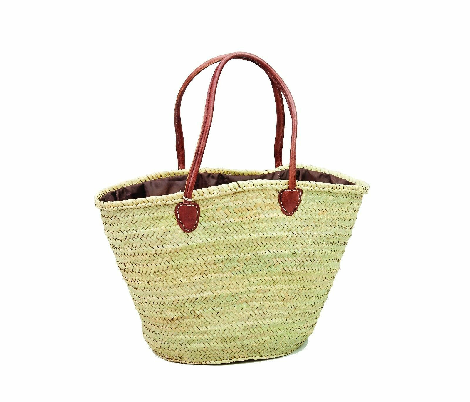 Mgoldccan Straw & Leather Shopping French Market Basket Bag Large Mgoldccan