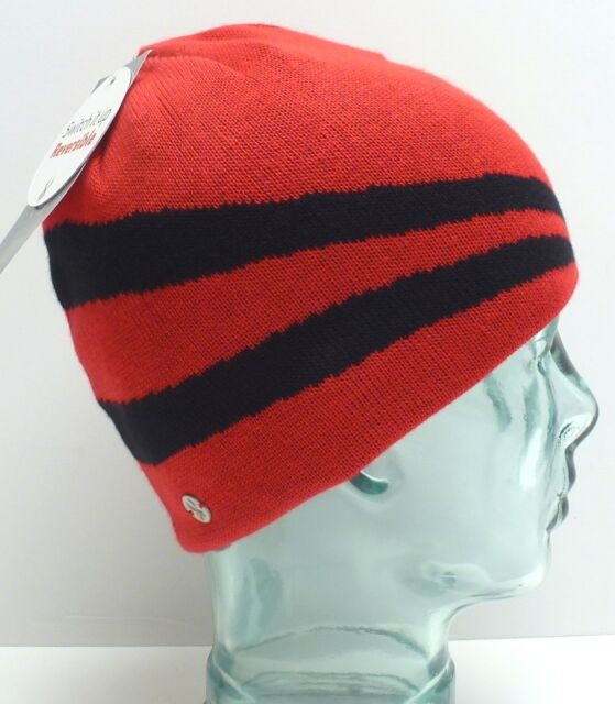 c64f951d59b Spyder Red black Jacquard Stripe Reversible Beanie Cap Hat Womens Adult One  Size