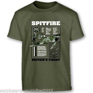 Enfants-Armee-Britannique-T-shirt-Spitfire-WW1-WW2-100-Coton-Top-7-8-9-11-12-13