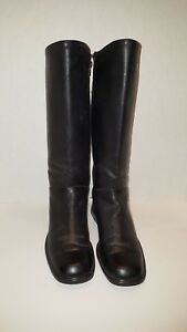 Santana-Canada-Black-Leather-Mid-Calf-Boots-Size-7-5M