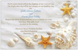 10 30 50 80 100 White SAND BEACH and SHELLS Horizontal 5X7 WEDDING Invitation