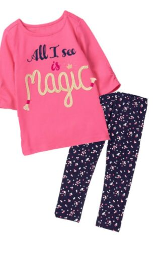 Gymboree Unicorn University 2T 3T Pink Magic Shirt /& Navy Dot Leggings Set 17