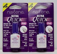 Lot Of 2 Nailene Ultra Quick Pink Brush On Nail Glue Fast Set 77058
