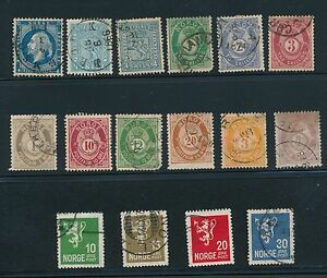 1856 - 1928 Norway EARLY ISSUES AS SHOWN; USED; CV $278.50