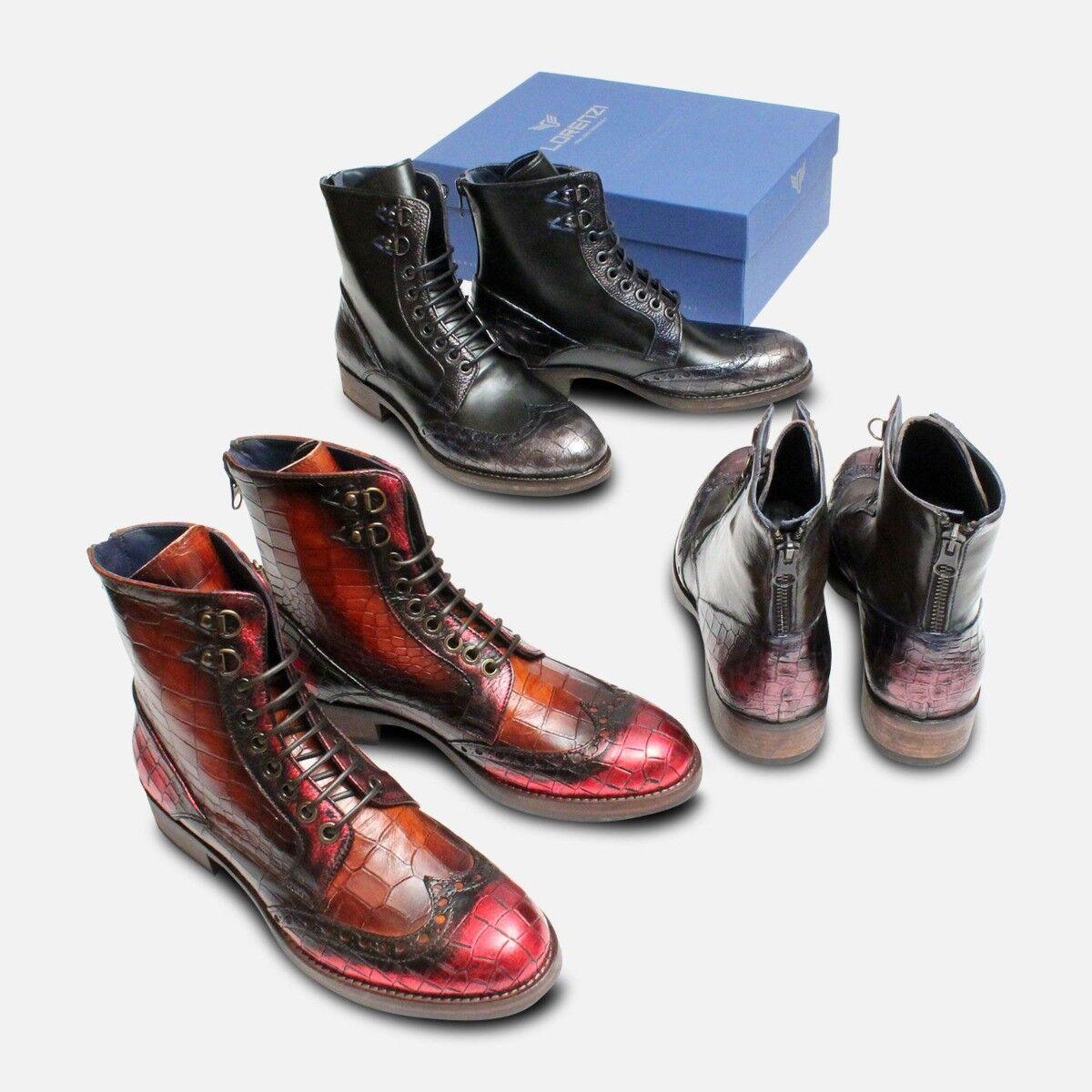 Metallic Purple & Dark Brown Brown Brown Designer Italian Boots 270ab7