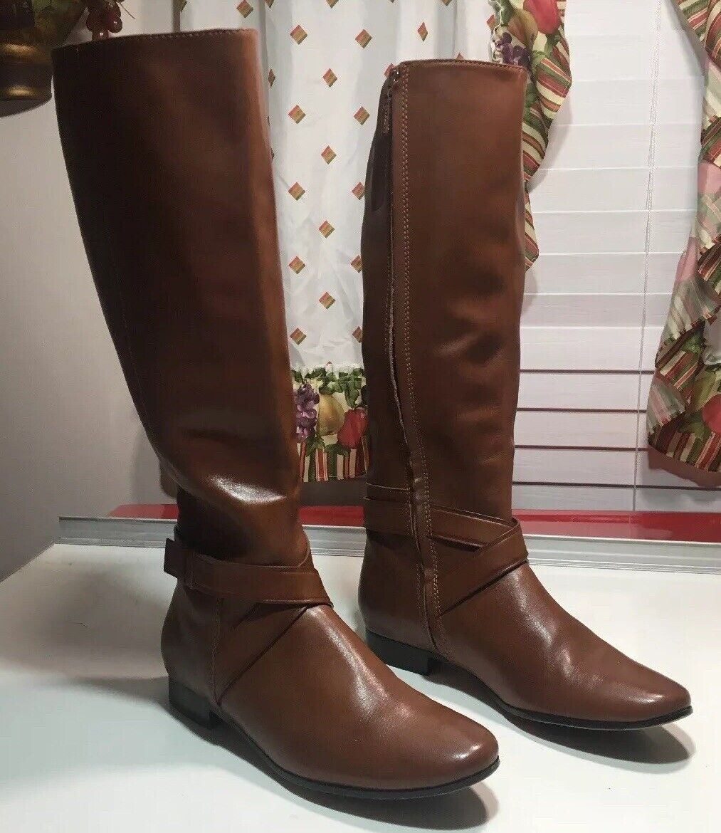 262-Cole Haan Riding Boots Brown Leather zip Women's Sz 7 B
