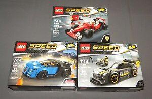 LEGO Speed Champions 3 Race Car Lot Bugatti, Scuderia Ferrari, Mercedes AMG GT3