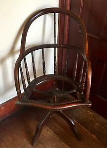 Terrific Details About Antique Windsor Bow Back Wooden Solid Mahogany Office Desk Chair Spinning Shaker Uwap Interior Chair Design Uwaporg
