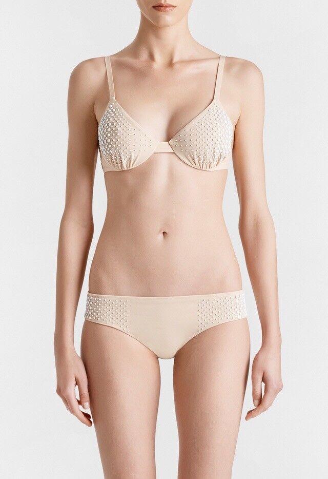 NWT LA PERLA PEARLS FALL Lycra Bikini swimsuit with pearl  1,140 Size 4 (38 С) L