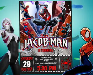 photo about Printable Spiderman Invitations called Info relating to Spider-male Invitation for Birthday Get together, Into the Spider-verse Printable Card