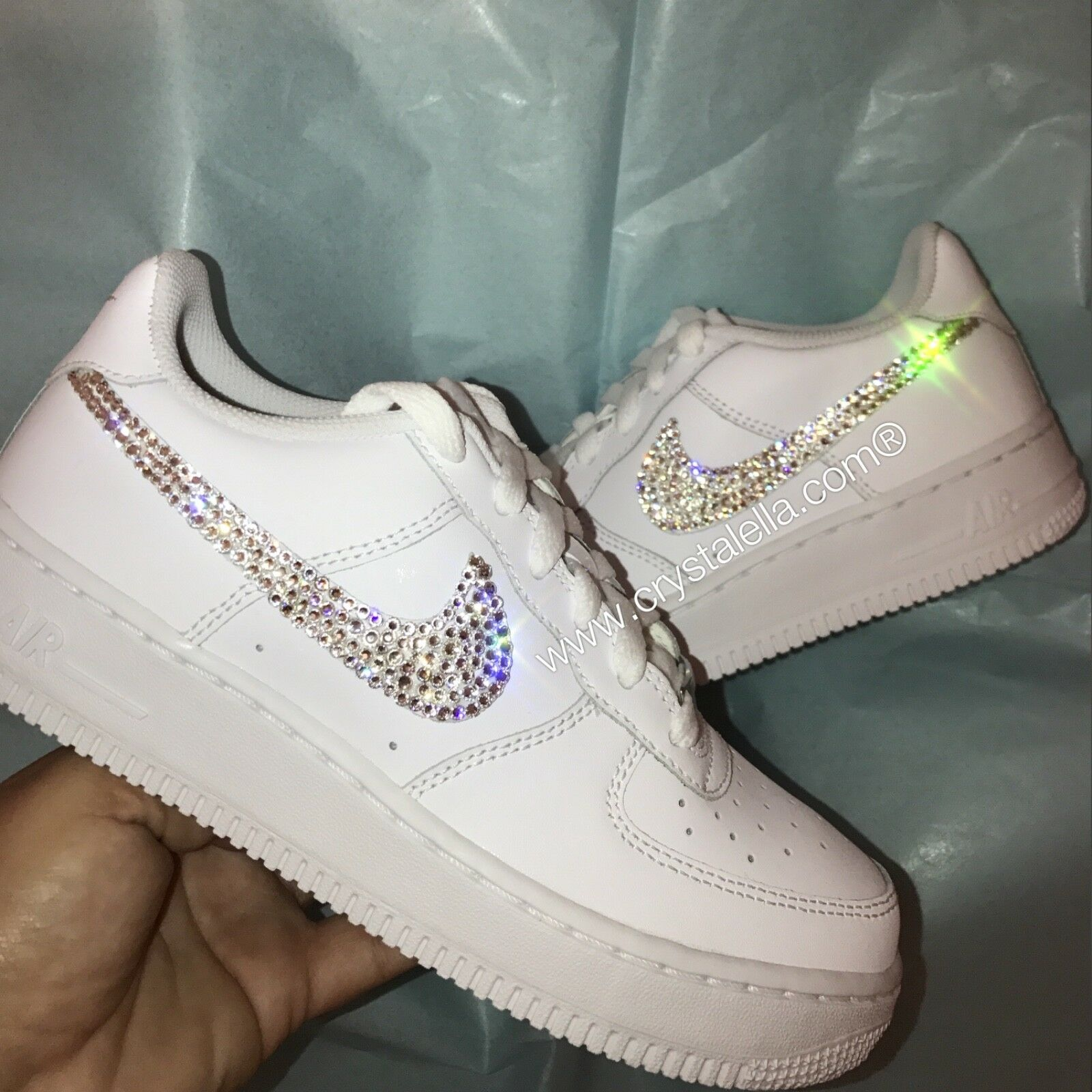 Nike Air Force 1 Low with with with Swarovski Crystallised Nike Ticks Swooshes New 539786