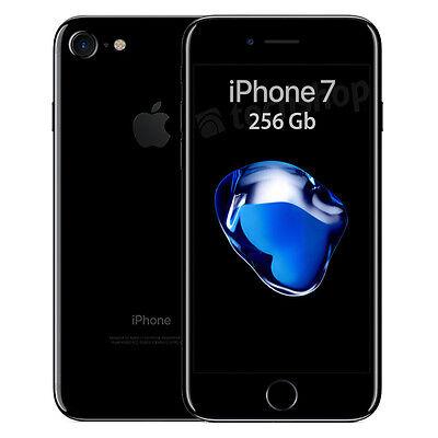 """Apple • iPhone 7 • 256Gb Jet Black • GARANZIA 2 ANNI • Nero Lucido 4.7"""" 4G NUOVO"""