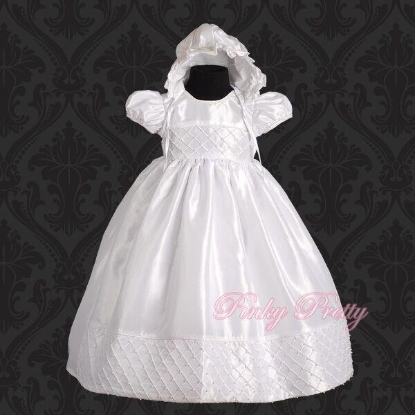 46bf2e94d8 Beaded White Baby Girl Christening Baptism Formal Dress Gown   Bonnet  9m-12m 027 for sale online