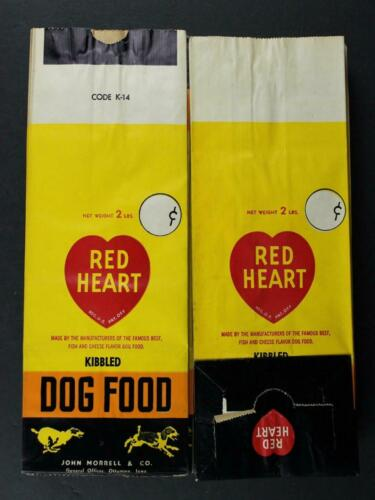 RED HEART DOG FOOD 2 1950s 2 lbs SACKS to place with your mantle baseball card