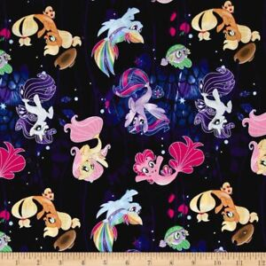 Hasbro-My-Little-pony-Faraway-Adventures-Multi-100-Cotton-fabric-by-the-yard