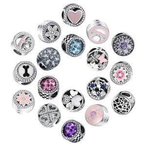 Love-Heart-CZ-Charms-Bead-Fit-925-Silver-Sterling-Bracelets-Necklace