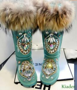Women-039-s-Winter-Thick-Warm-Snow-Boots-Real-Leather-Fox-Fur-Rhinestone-Decor-Shoes