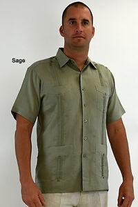 Mens-Bohio-100-Linen-Sage-Classic-Guayabera-4-Pocket-Shirt-S-2X-L-LS499