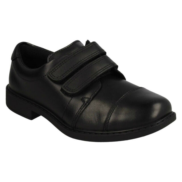 Boys School Shoes Leather Junior Kids Formal Dress Fasten Hook Loop ALL SIZE 902