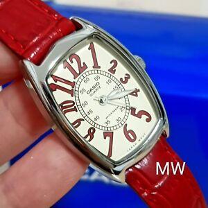 100-Genuine-Casio-Watch-Ladies-Women-RED-Leather-LTP-1208E-9B2-Water-Resistant