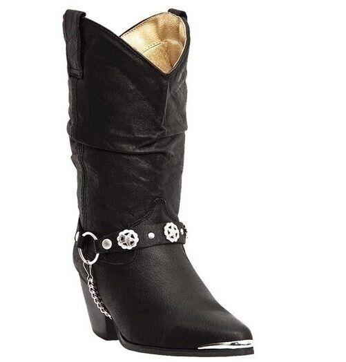 Dingo Damen Olivia Komfort Wildleder Mode Zehen Cowboy Western Stiefel Schwarz