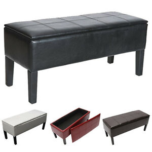 bank sitzbank truhe renens leder 96x44x37cm schwarz creme rot braun ebay. Black Bedroom Furniture Sets. Home Design Ideas