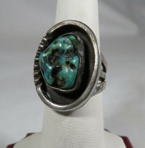 Vtg Sterling Silver Gold Plated MOP and Turquoise Bead Modernist Design Pin Brooch