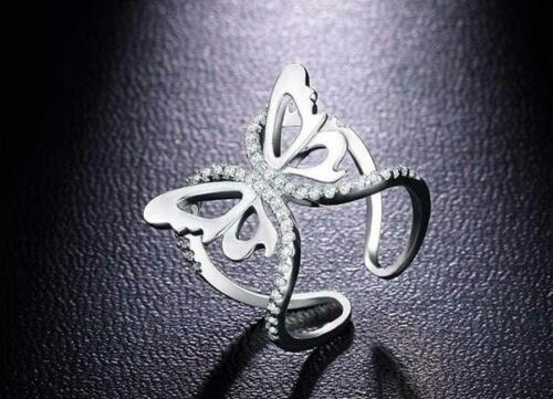 Gold Silver Women/'s Open Butterfly Wedding Ring White Sapphire Adjustable Ring