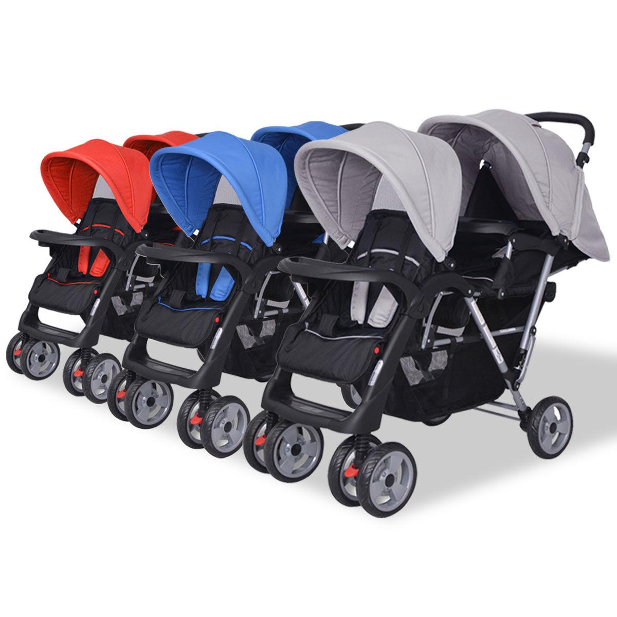 Doppel Kinderwagen Mit 2 Verdecke Baby Komplettset Babyschale Geschwisterwagen