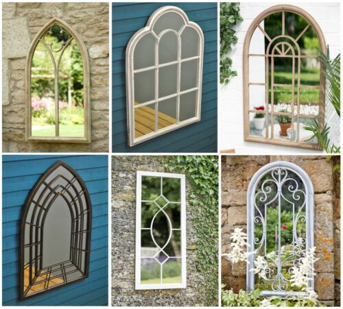 Gothic Arched Outdoor Garden Mirror Window Victorian Roman Tall or Scrolled