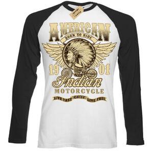 Capo-Indiano-T-Shirt-Motocicletta-American-Biker-T-Shirt-Uomo-Baseball-Maglietta