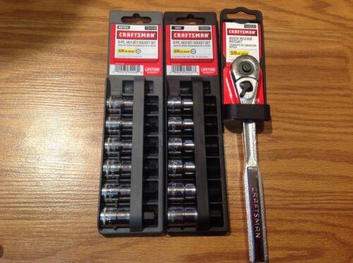 3//8 Inch Hex Bit Lot Standard Metric 12 pc Socket Plus Quick Release Ratchet NEW