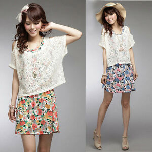 New-Collection-Korean-Women-Ladies-Sundress-Sweet-Mini-Dress-Short-Sleeves-Top