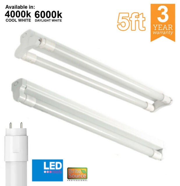 5ft LED T8 Indoor Batten Fitting Single / Double with LED tube office 240v  Twin
