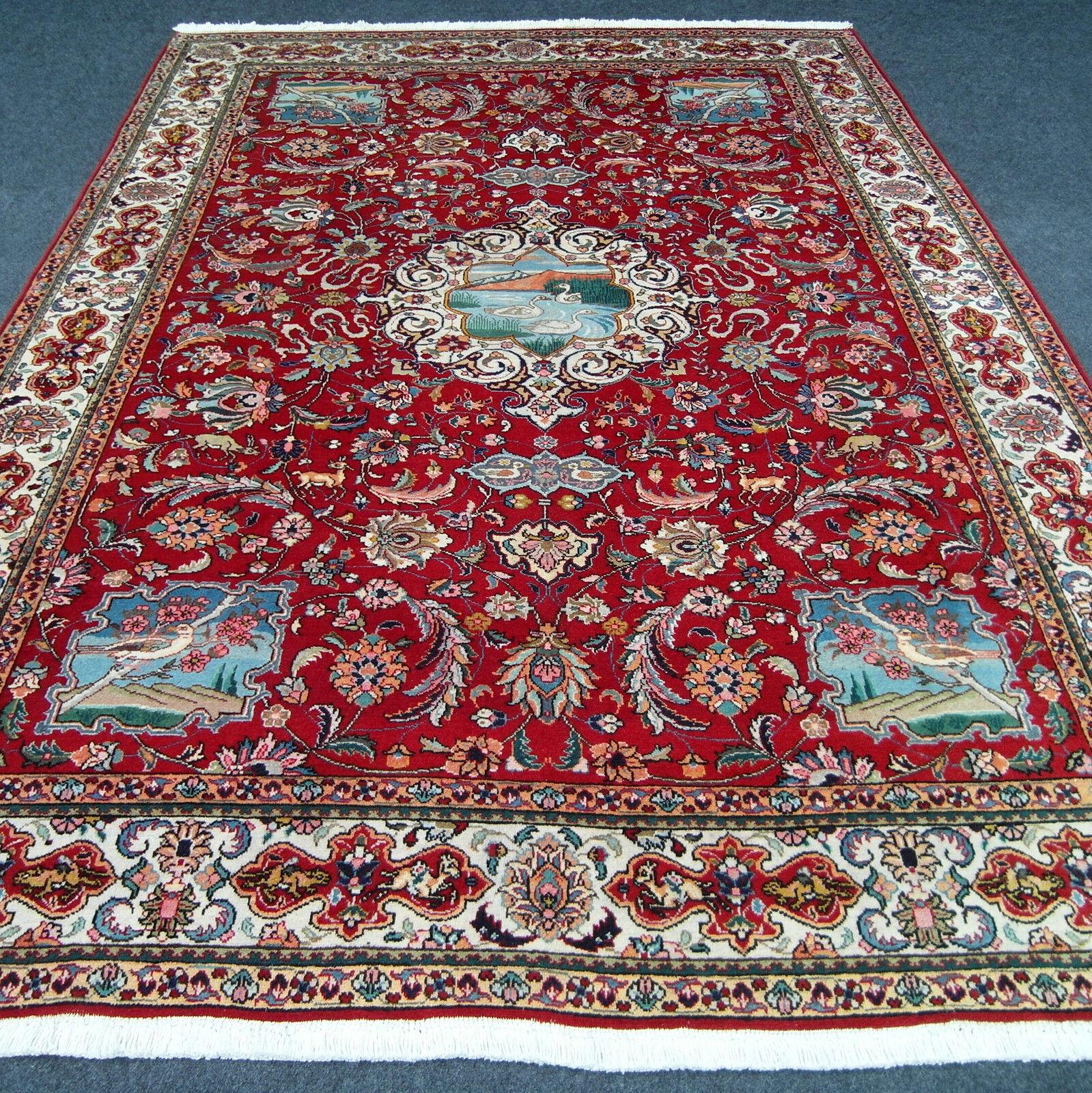 Orient alfombra roja de 345 x 247 cm alfombra persa edad naturaleza motivos old Carpet Rug