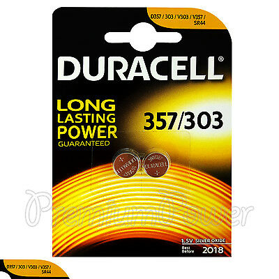 Dynamic 2 X Duracell Silver Oxide 357 303 1.5v Batteries Watch D357 V303 V357 Sr44 Quality And Quantity Assured Single Use Batteries Consumer Electronics