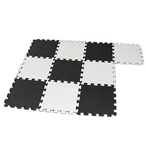 10X Eva Foam Puzzle Exercise Mat Interlocking Floor Tiles -- White and Black PK