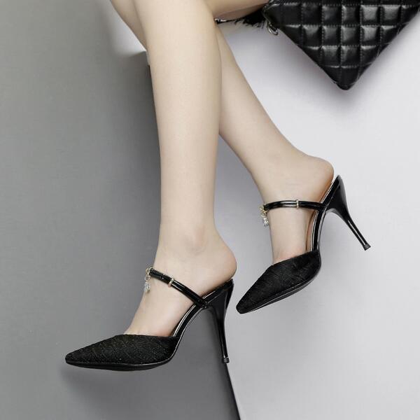 FrauenSandale FrauenSandale FrauenSandale Hausschuhe elegant Holzschuhe Stilett hoch 9.5 cm schwarz CW585 60da2b