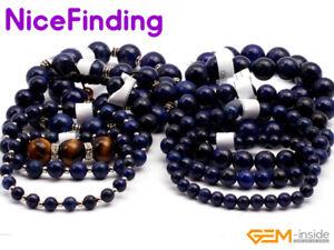 Round Blue Lapis Lazuli Beaded Chakra Healing Bracelets Elastic Unisex Jewelry