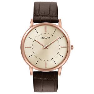 Bulova-Men-039-s-97A126-Quartz-Ultra-Slim-Rose-Gold-Case-Brown-Leather-40mm-Watch
