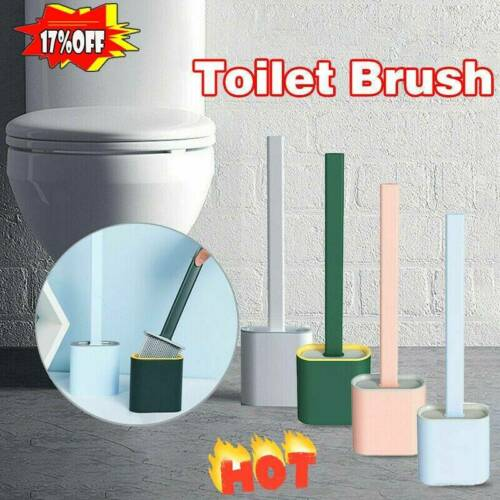 Toilet Cleaning Wall-Mounted Floor-Standing Brush Set Soft Rubber Handle NEW