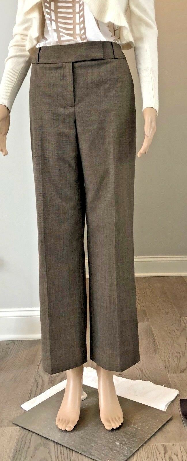 Ann Taylor Signature Fit Size 6 Brown Tweed Wool Lined Career Dress Pants