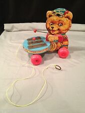 VINTAGE 1966 FISHER PRICE teddy bear with xzylophone VERY RARE PULL TOY ~ #741