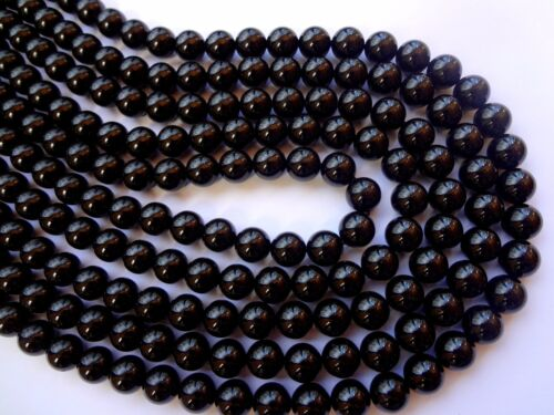 Half Strand 8mm Round Black Tourmaline Semi Precious Gemstone Beads 24pcs