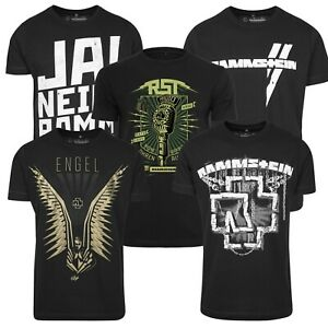 Merchcode-Rammstein-Herren-T-Shirt-Metal-Band-Shirt-Engel-Hemd-Ketten-Logo-Fan