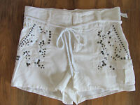 Da-nang Surplus Silk Blend Cargo Shorts -sequins/embroidery - White- Nwt-small