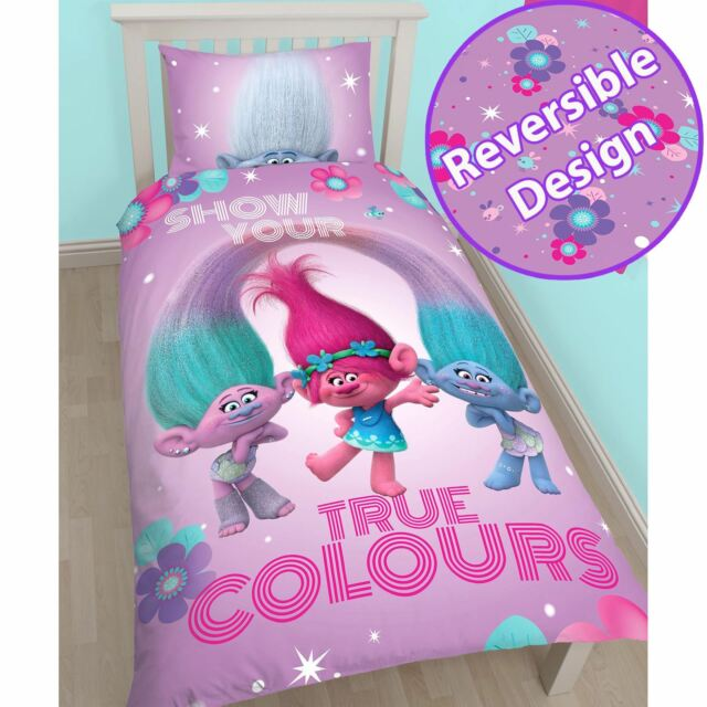 TROLLS GLOW SINGLE DUVET COVER & PILLOWCASE SET REVERSIBLE BEDDING OFFICIAL NEW