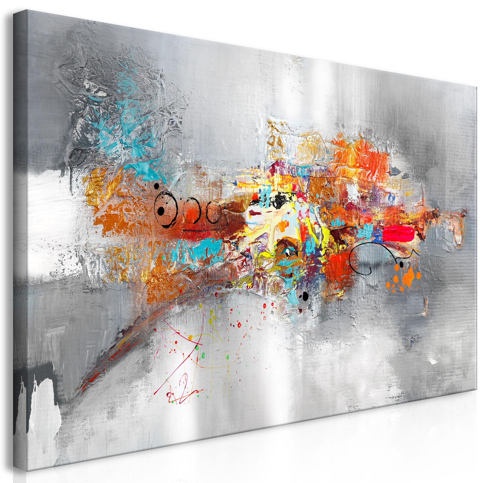 Wandbilder xxl Abstraky Leinwand Bilder grau bunt Wohnzimmer a-A-0415-b-a