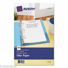 Avery Mini Binder Filler Paper, College Ruled, 7-Hole Punch, 2-100/Pack (14230)