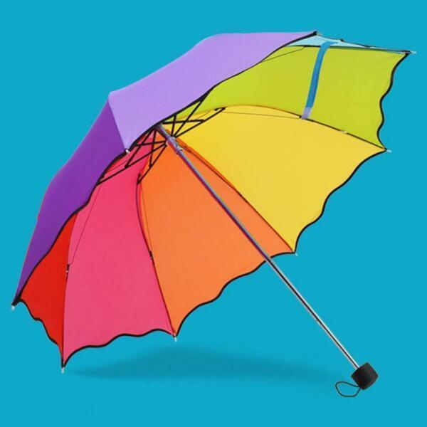 100% De Calidad Coloridos Paraguas Sombrilla Niños Paraguas Arco Iris Plegable Impermeable Para Niños-ver Ser Amigable En Uso